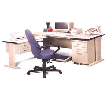 L-shape Office table in beige table top...