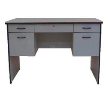 Office Table with Center and Side Drawers in Light Gray Finish
