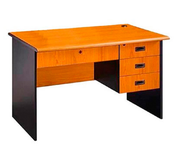 Two-Tone Office Table with Center and Side...