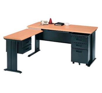 L-shape Office table in woodgrain table...